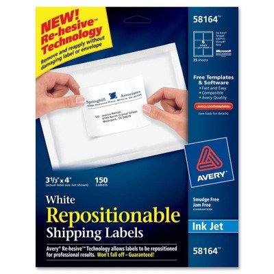 Avery Products - Avery - Re-hesive Inkjet Labels, 3 1/3 x 4, White, 150/Pack - Sold As 1 Box - New Re-hesiveTM technology allows removal and reapplication without damaging the label or the envelope. - Won't fall off - guaranteed! - Smudge- and jam-free.