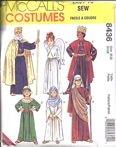 McCall's 8436 Sewing Pattern Childrens Costume Bible Characters Angel King Shepherd Mary Christmas Size Large ()
