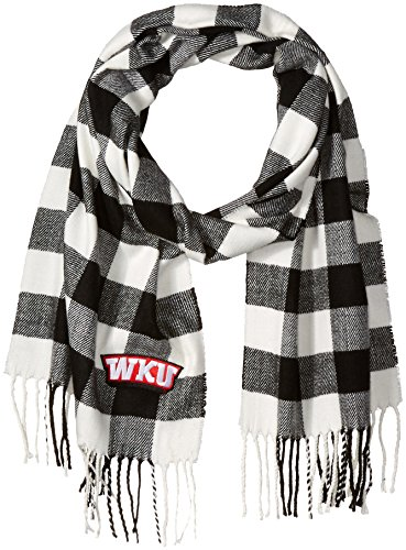 Nitro USA Buffalo Check Soft Fringe Scarf with WKU Embroidered Applique, One Size, Black/White