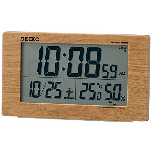 세이코 clock 자명종 전파 디지탈 캘린더 쾌적당 온도 습도 표시 묽은 차 나무결 SQ784A SEIKO