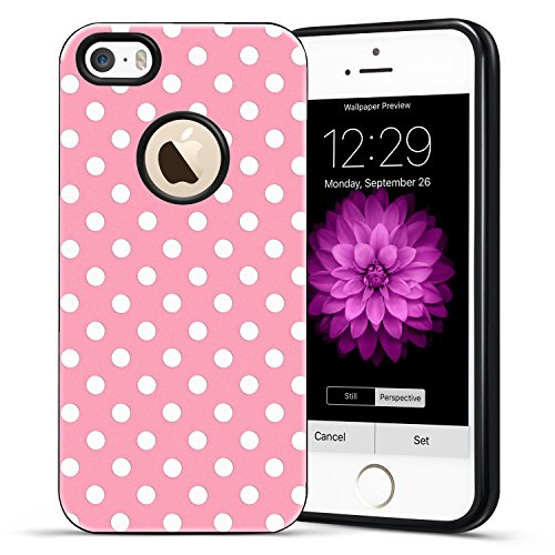 reputable site d398d 8ddf7 iPhone SE Case,Vintage Girly Cute White Polka Dots Printed - Import ...