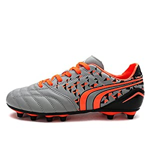 Dream Pairs Little Kid 160860-K Grey Orange Black Soccer Football Cleats Shoes - 3 M US Little Kid