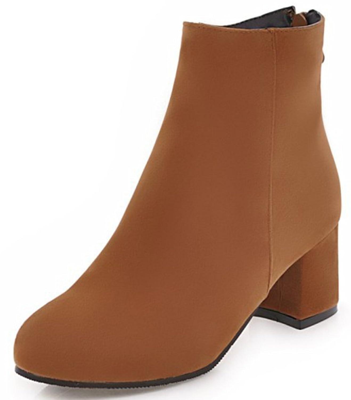 SHOWHOW Damen Retro Stiefelette Blockabsatz Kurzschaft Stiefel Mit Reißverschluss Braun 42 EU cXBPs