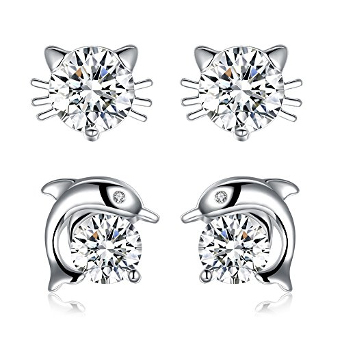 Sterling Silver Plated Cat Dolphin Cubic Zirconia Stud Earrings for Women Teen Girls Jewelry, 2 Pairs Cute Earrings Set -