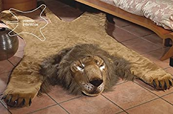 Superior Fake Faux Fur Lion Skin Lionskin PLUSH RUG KING SIZE LARGE 84,6u0026quot;  59u0026quot