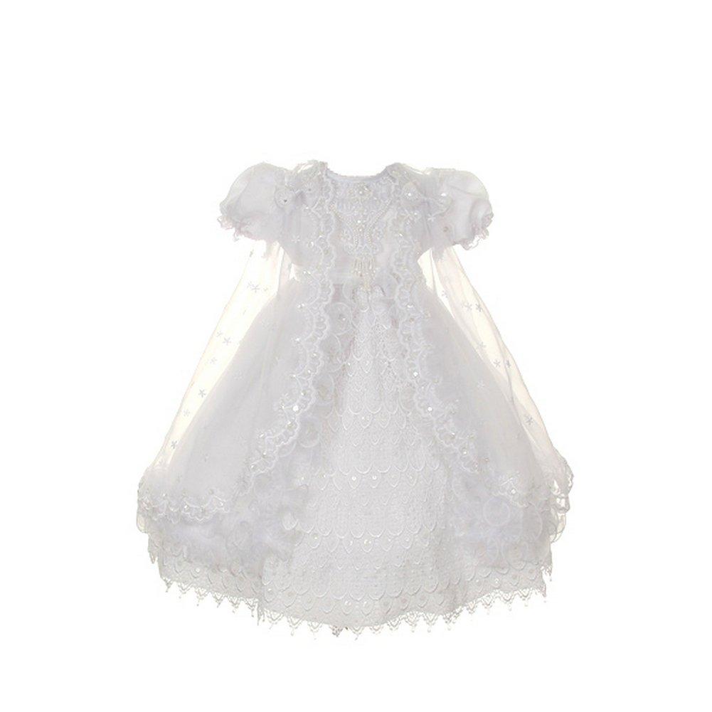 Rain Kids Little Girl White Crochet Lace Baptism Sheer Cape Dress 2-4T The Rain Kids