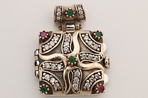 Secret! Turkish Handmade Jewelry Square Ruby Emerald Topaz 925 Sterling Silver Locket Pendant