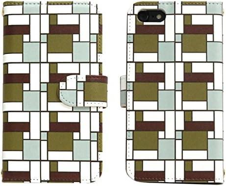 スマホケース 全機種対応 手帳型【HONEY BEE 101K ブラウンコーナーパターン】かわいい 幾何学模様 カラフル おしゃ