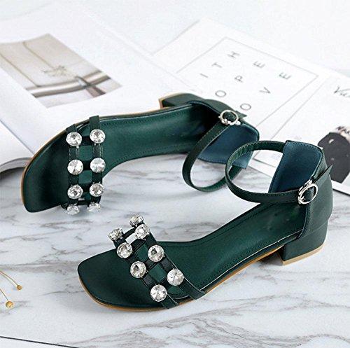áspero hueco con zapatos de hebilla de diamantes de imitación zapatos casuales de palabras C
