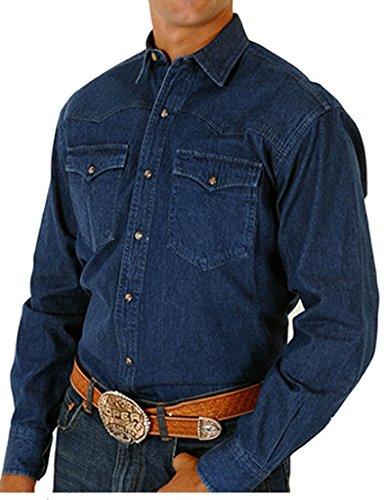 Roper Men's Long Sleeve 8-Oz Denim Shirt Denim - Clothing Woodbury Stores