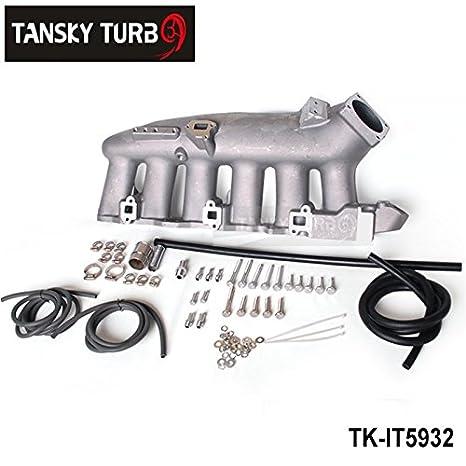 Para Nissan RB25 ecr33 Turbo colector de admisión de aluminio fundido pulido con texto en alto rendimiento tk-it5932: Amazon.es: Coche y moto