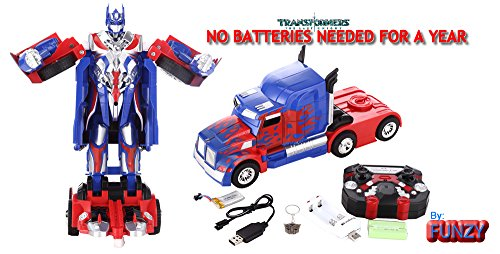 Optimus Prime Electronic (Latest Model Transformer Optimus Prime Truck NO BATTERIES NEEDED FOR A YEAR, SUPER MEGA RC by FUNZY)
