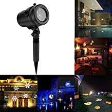 Lemonbest Laser Light Mini Waterproof LED Projector Light Outdoor Landscape Spotlights 14 Kinds Cards for Halloween Xmas New Year Birthday Party Lawn Garden