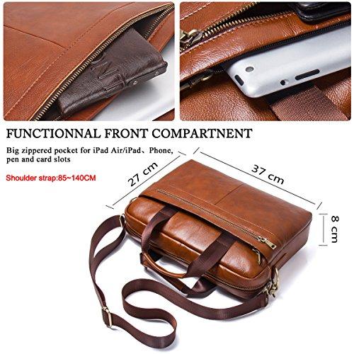 57e40bcb9390 Contacts Genuine Men s Cowhide Leather Messenger Bag Briefcase Fit ...