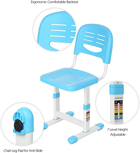 IKAYAA/ /Scrivania per Bambini scrittoio scrivania con Sedia Regolabile in Altezza e inclinazione Regolabile Blau