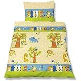 Aminata Kids – bunte Bettwäsche 100x135 cm Kinder Jungen Mädchen Tiere Baumwolle Reißverschluss Zootiere Giraffe Tiger Löwe Elefant Tiermotiv Kinderbettwäsche Babybettwäsche Bettbezug Kinderbettgröße