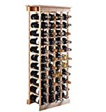 44 Bottles Wine Rack Free Standing Vertical Design 11 Tiers Wooden Shelves Storage Display Home Kitchen Décor Natural Pinewood Material