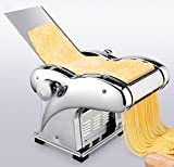 Pasta Maker,110V Electric Noodle Press Machine Spaghetti Pasta Maker Commercial Stainless Steel Dough Cutter Dumplings Roller Noodles Hanger,6 Speed Adjustable Thickness Setting (3 Noodle Knife)