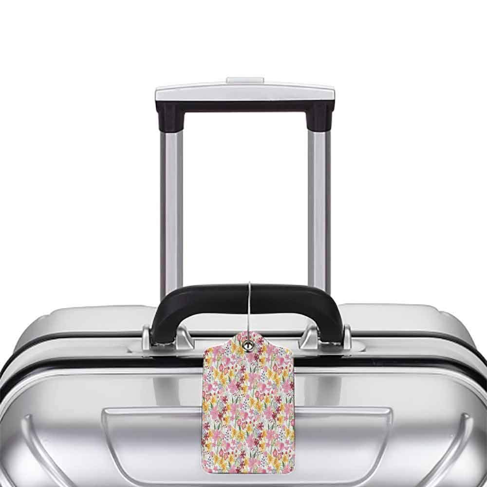 Printed luggage tag Daffodil Decor Mixed Plants and Wildflowers Blooms Pattern Tulips Daffodil Endless Romantic Floral Artprint Protect personal privacy Multi W2.7 x L4.6