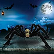 Giant Halloween Spider, Scary Halloween Yard Decorations Large Fake Hairy Spider Furry Spider Props Outside La