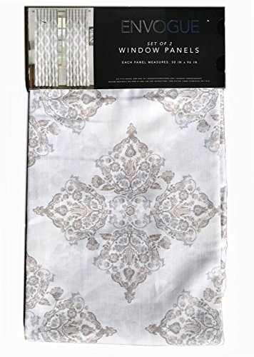 Cheap Envogue Medallion Window Curtains Gray Taupe Torino Damask Paisley Pair of Curtains 2 window panels 50 by 96-inch Grey Beige