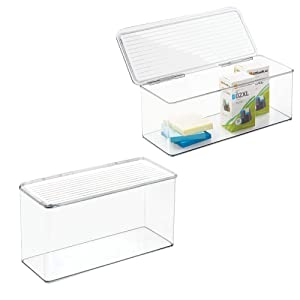 """mDesign Long Plastic Stackable Home, Office Supplies Storage Organizer Box with Attached Hinged Lid - Holder Bin for Note Pads, Gel Pens, Staples, Dry Erase Markers, Tape - 5"""" High, 2 Pack - Clear"""