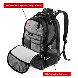 SwissGear Backpack Laptop Travel Backpack ScanSmart (Slate Grey, Model SA1753)