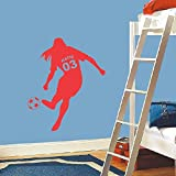 Custom Made Football Soccer Ball Vinyl Wall Decals Personalized Name & Number Poster Art Kids Girls Rooms Decoration