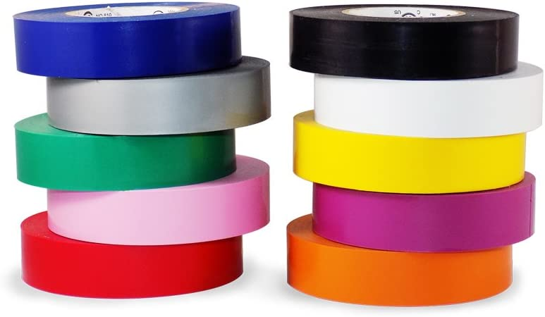 T.R.U. EL-766AW Rainbow Pack General Purpose Electrical Tape 3/4 (W) x 66' (L) UL/CSA listed core. Utility Vinyl Synthetic Rubber Electrical Tape (10 Pack) - Suitable for Use At No More Than 600V