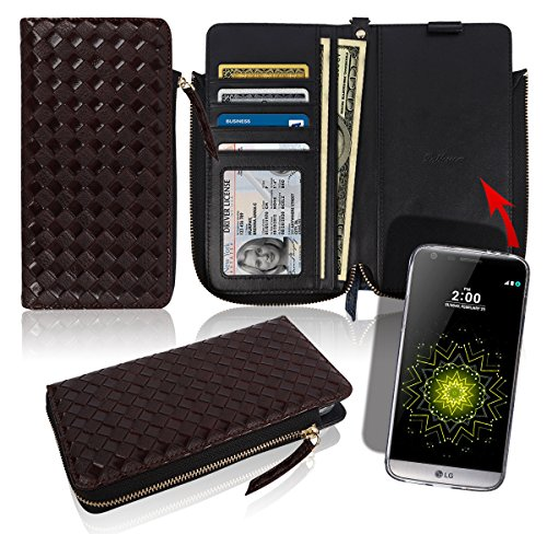 LG G5 Zipper Wallet Case [4 Credit Card / ID 2 Cash Slots] Pockets Pattern Leather Magnetic Flip Slim Diary Cover Small Mini Size Pouch Clutch Bag Folio LGG5 (Woven Brown)
