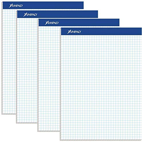 Ampad Evidence Quad Dual-Pad, Quadrille Rule, Letter Size (8.5 x 11.75), White, 100 Sheets per Pad, Pack of 4