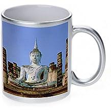 Budda of Thailand Metallic Silver Sparkle Coffee Mug