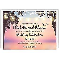 Custom - Beach Wedding Invitation Set - Set of 25, Personalized Wedding Invitation, Destination Wedding, Hawaiian Wedding (Invitation + Envelope)