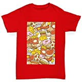 retro 11 breads - Twisted Envy Boy's Food Collage Cotton T-Shirt, Comfortable and Soft Classic Tee with Unique Design Age 9-11 Red