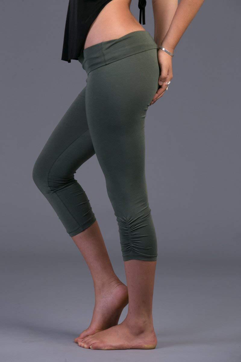 Handmade Olive Green Cotton Lycra Women's Yoga Capri Tights Pants, Crop Leggings Bohemian Activewear Clothing