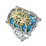 Men Fashion Square Turquoise Golden Filigree Spider Pattern Band Engagement Ring 18K White Gold Plated