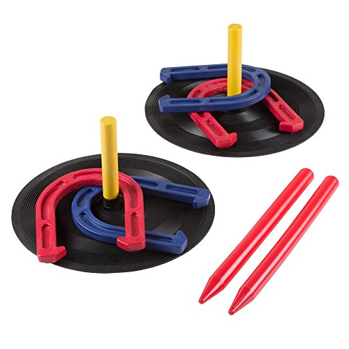 Rubber Horseshoes Game Set for Outdoor and Indoor Games  Perfect for Tailgating Camping Backyard and Inside Fun for Adults and Kids by Hey Play