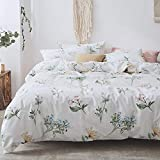 AMWAN Cotton Flower Print 3 Piece Bedding Set Queen Lightweight Soft Full Duvet Cover Set Reversible Kids Girls Bedding Collection 1 Duvet Cover with 2 Pillowcases Queen Duvet Quilt Cover Set