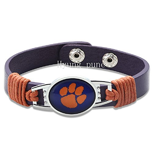 Swamp Fox Clemson Tigers football Adjustable Leather Bracelet for Men Women