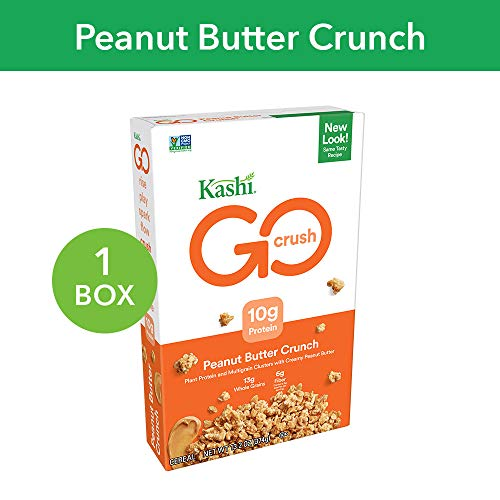 Kashi GO Peanut Butter Crunch Cereal - Vegan | Non-GMO | 13.2 Oz Box