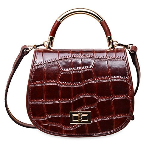 PIFUREN Top Handle Satchel Handbags Designer Leather Tote Bags (33250 Brown Croco) Croco Embossed Leather Tote Bag