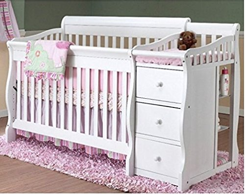 Sorelle Tuscany 4-in-1 Convertible Fixed-Side Crib and Changing Table Combo, White