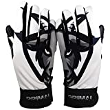 PrimalBaseball Youth Batting Gloves for Sports Players - C1COOP G.O.A.T. | White/Black -Medium