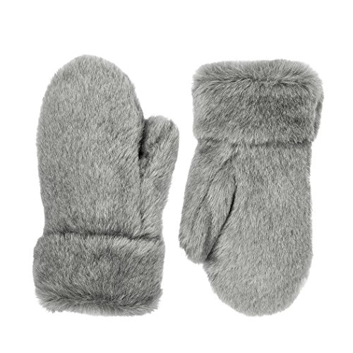 Futrzane Winter Gloves Women Men Mittens Made Of Rabbit Faux Fur (Grey)