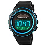 Boys Girls Digital Led Back Light Solar Powered Sporty Watches Week Alarm Chronograph Wrist Watch Women