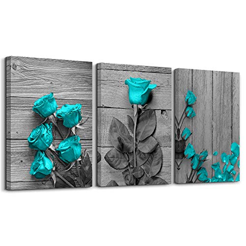 Canvas Wall Art for Bedroom Blue Rose Flowers Gray Book Canvas Wall Art Pictures Canvas Prints for Home Decorations Ready to ()