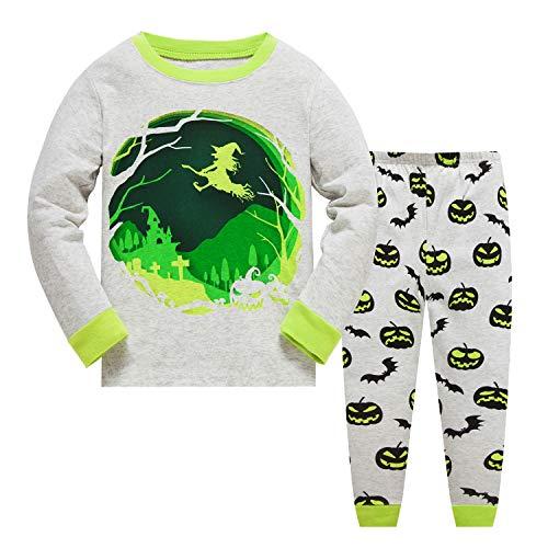 Kids Dinosaur Pajamas Boys Size 6 Christmas Bear Pajama Sets Toddler Pjs 100 percent Cotton Snug Fit Sleepwear,Halloween/Green,4T ()