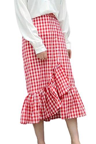 Women High Waist Ruffled Patchwork Asymmetrical Gingham Skirt Red M]()