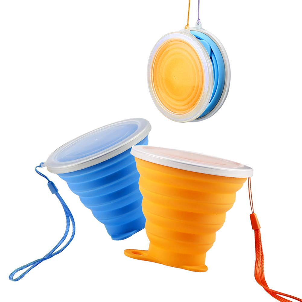 Addwin シリコン折りたたみトラベルカップ BPAフリー ポータブル 折りたたみ式 蓋付きキャンプカップ - アウトドアハイキング キャンプ ピクニック アドベンチャー  Blue+Orange B07F8PB9K5