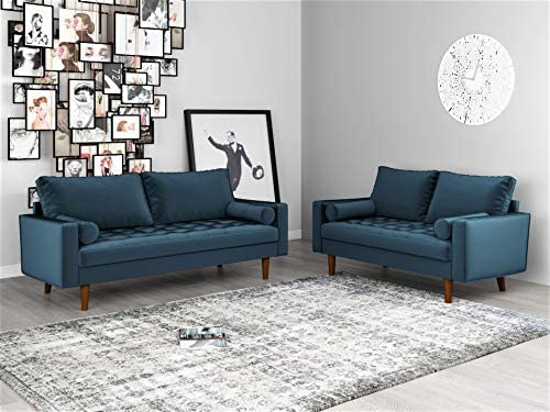Container Furniture Direct Mid Century Modern Velvet Upholstered Button Tufted Living Room Sofa, 2 Piece Set, Prussian Blue